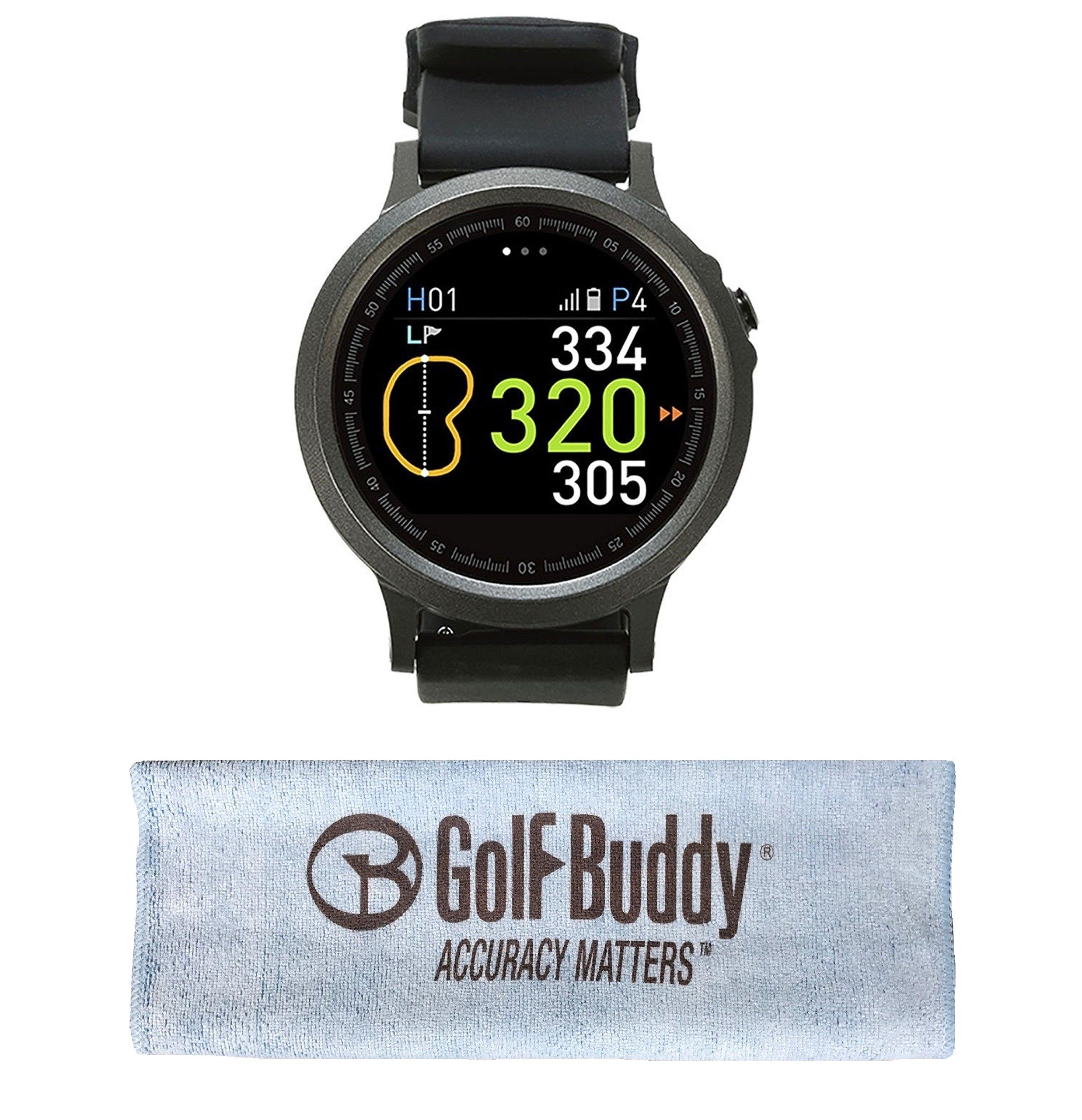 GolfBuddy WTX Smart Golf GPS Watch Black with Bonus Golf Buddy Microfiber Towel
