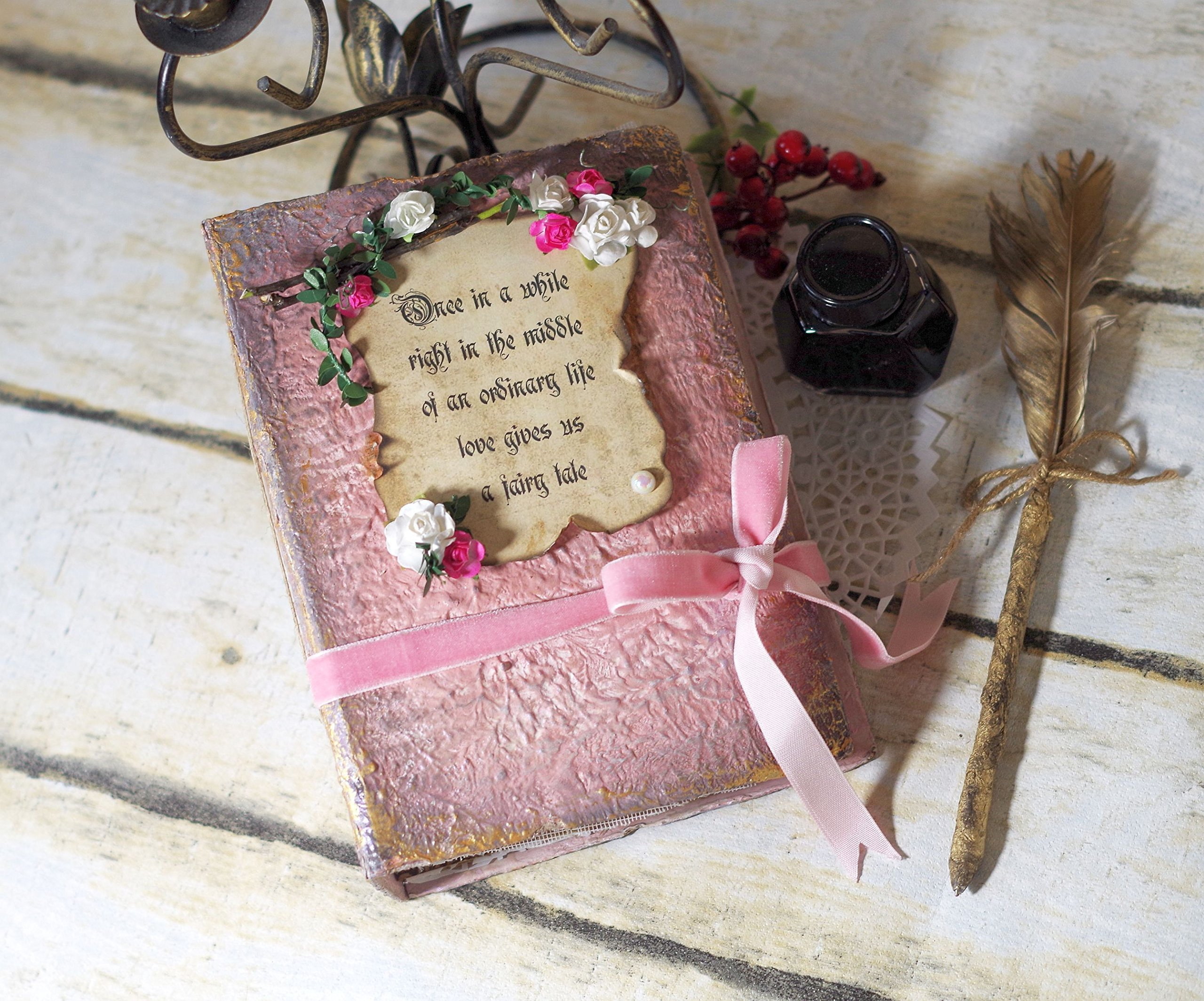 Fairytale Wedding Guestbook, Fairy tale Photo Album, Alice in Wonderland Guest book, Bridal Shower, Party, Baby girl, Memory keepsake book, Story book, Storybook, Woodland, Pale Sage Blush Pink