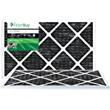 FilterBuy Allergen Odor Eliminator 14x25x1 MERV 8 Pleated AC Furnace Air Filter with Activated Carbon - Pack of 2 - 14x25x1