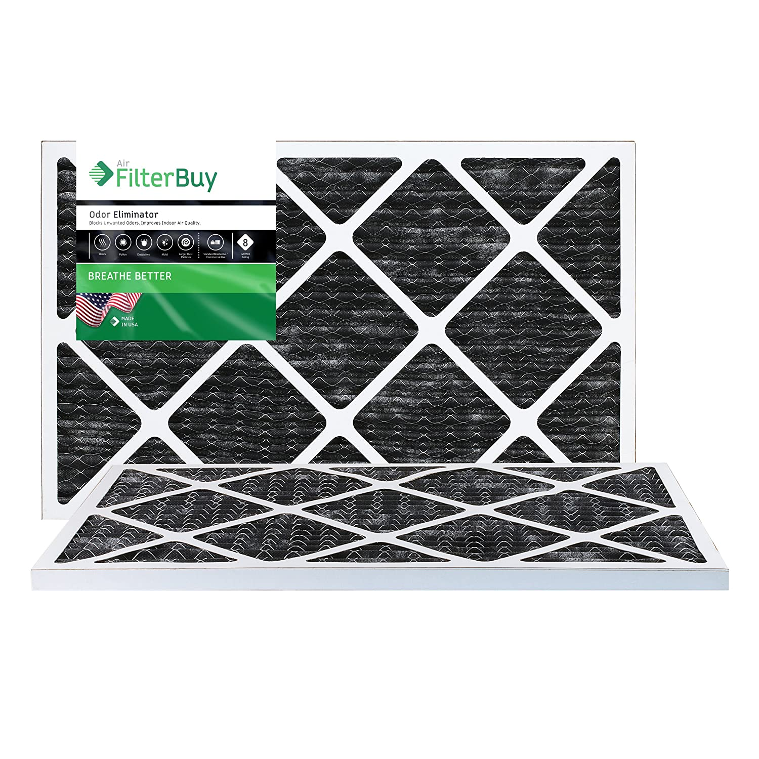 FilterBuy Allergen Odor Eliminator 12x24x1 MERV 8 Pleated AC Furnace Air Filter with Activated Carbon - Pack of 2-12x24x1