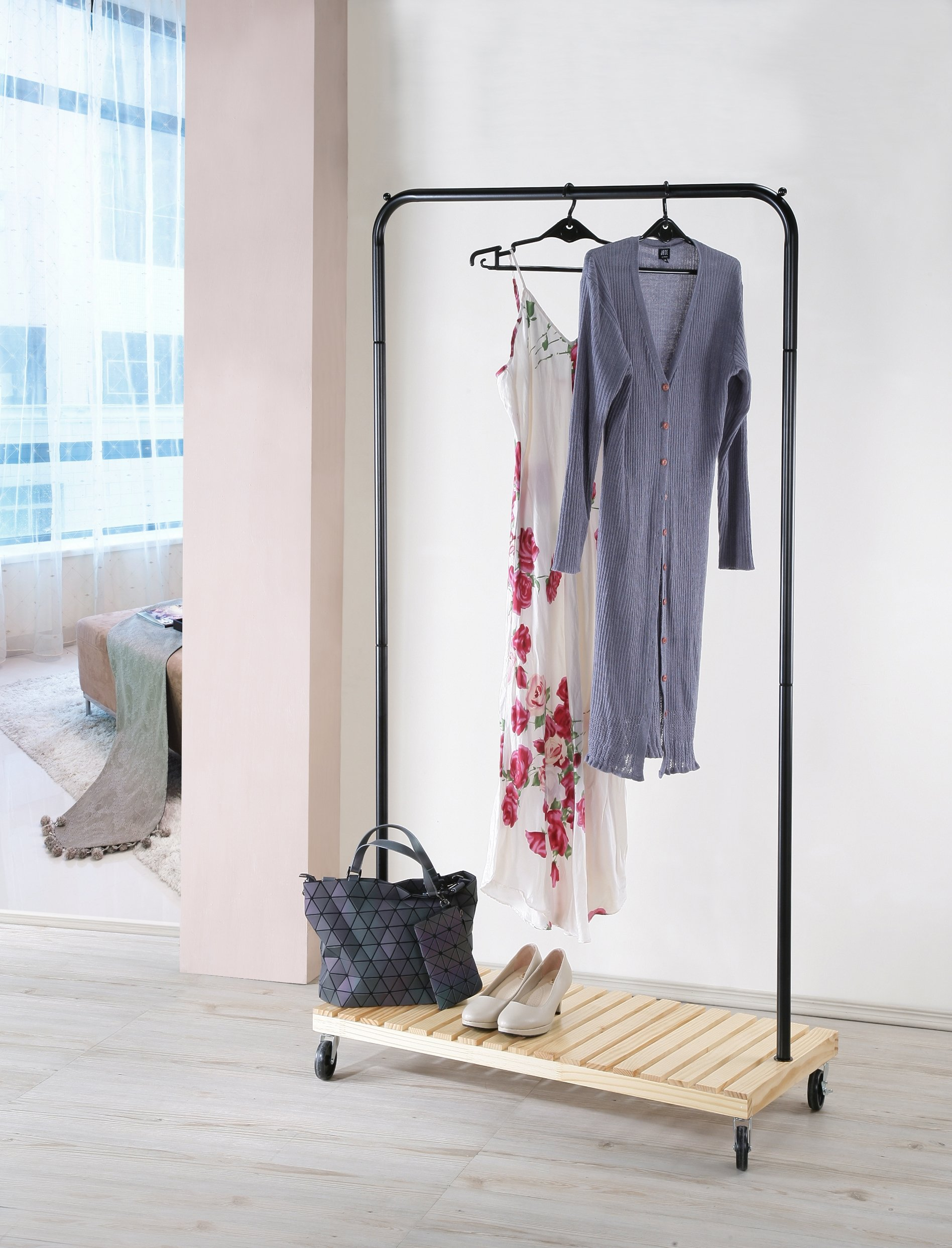 Metal and Wood Garment Coat Rack with Wheels, Heavy Duty, by Legacy Decor