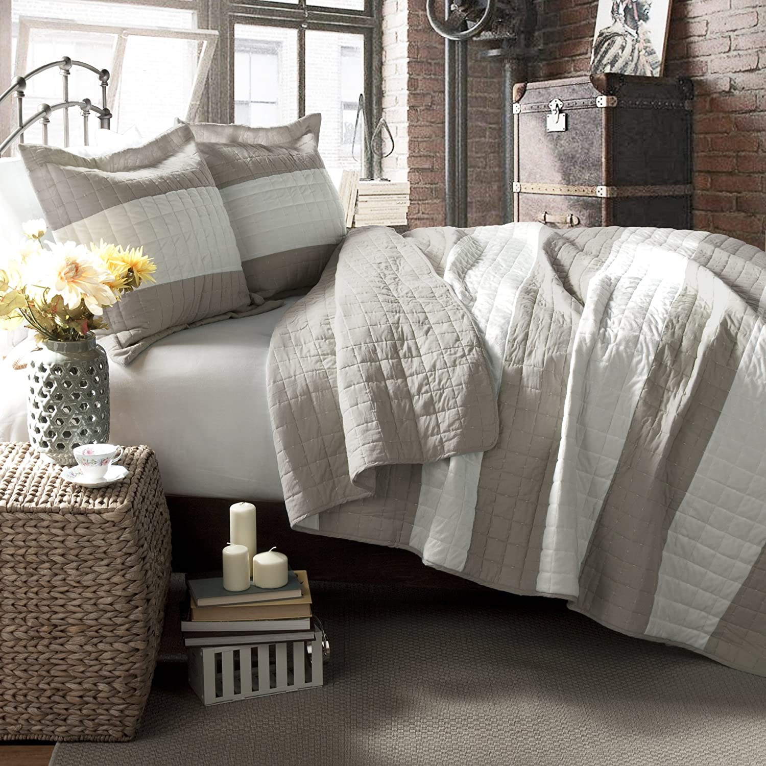 Lush Decor Berlin Stripe 3-Piece Quilt Set, Full/Queen, Taupe