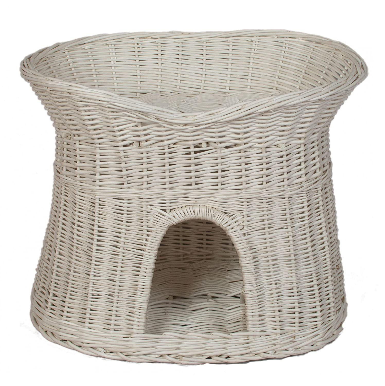Without cushions L (61x42x48 cm) without cushions L (61x42x48 cm) Floranica 2 Sizes (L o XL) Wicker Cat Tower Two Tier Bed Basket House + cushions, organic willow product, made in the EU, Size L (61x42x48 cm), Cushion color without cushions