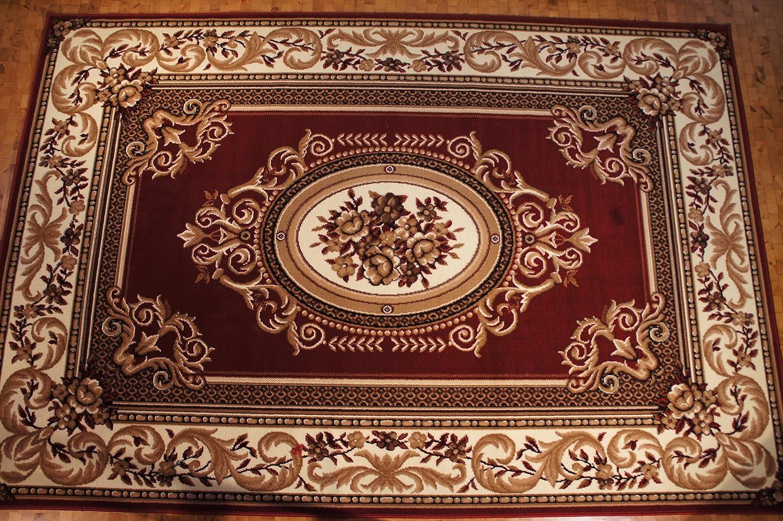 Karatcarpet Klassischer Teppich Kurzflor Kollektion Gold 148 22 Rot Muster  Bordüre Seidenglanz. (200x300 cm)