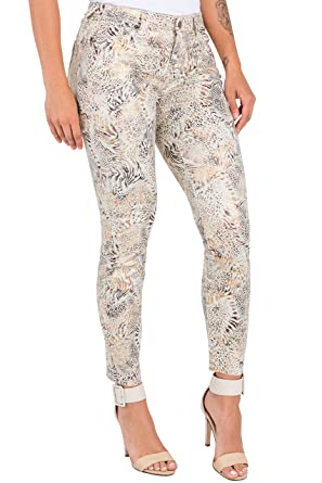 84c97e441f7d Poetic Justice Women's Curvy Fit Bronze Coated Twill Animal Printed Skinny  Jeans Size 26 x 28Length