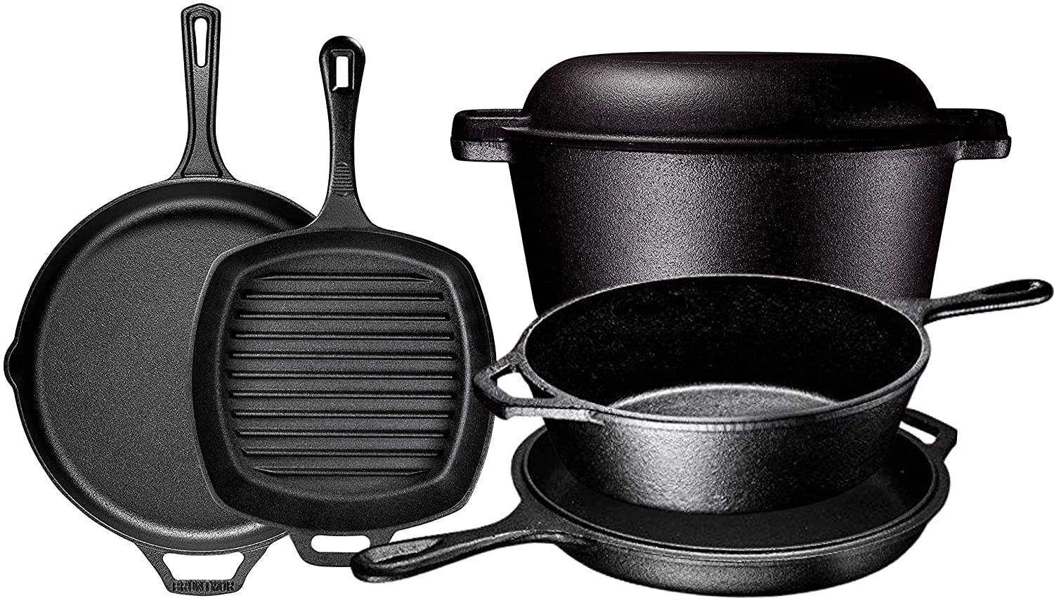Pre Seasoned Cast Iron 6 Piece Bundle Gift Set, Double Dutch, Multi Cooker, Skillet & Square Grill Pan, Kitchen and Outdoor Camping Cookware Set (6 Piece)