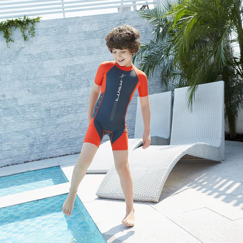 ranrann Kids Boys One Piece Rash Guard Sun Protection Swimsuit Short Sleeves Front Zippered Swimwear Bathing Suit