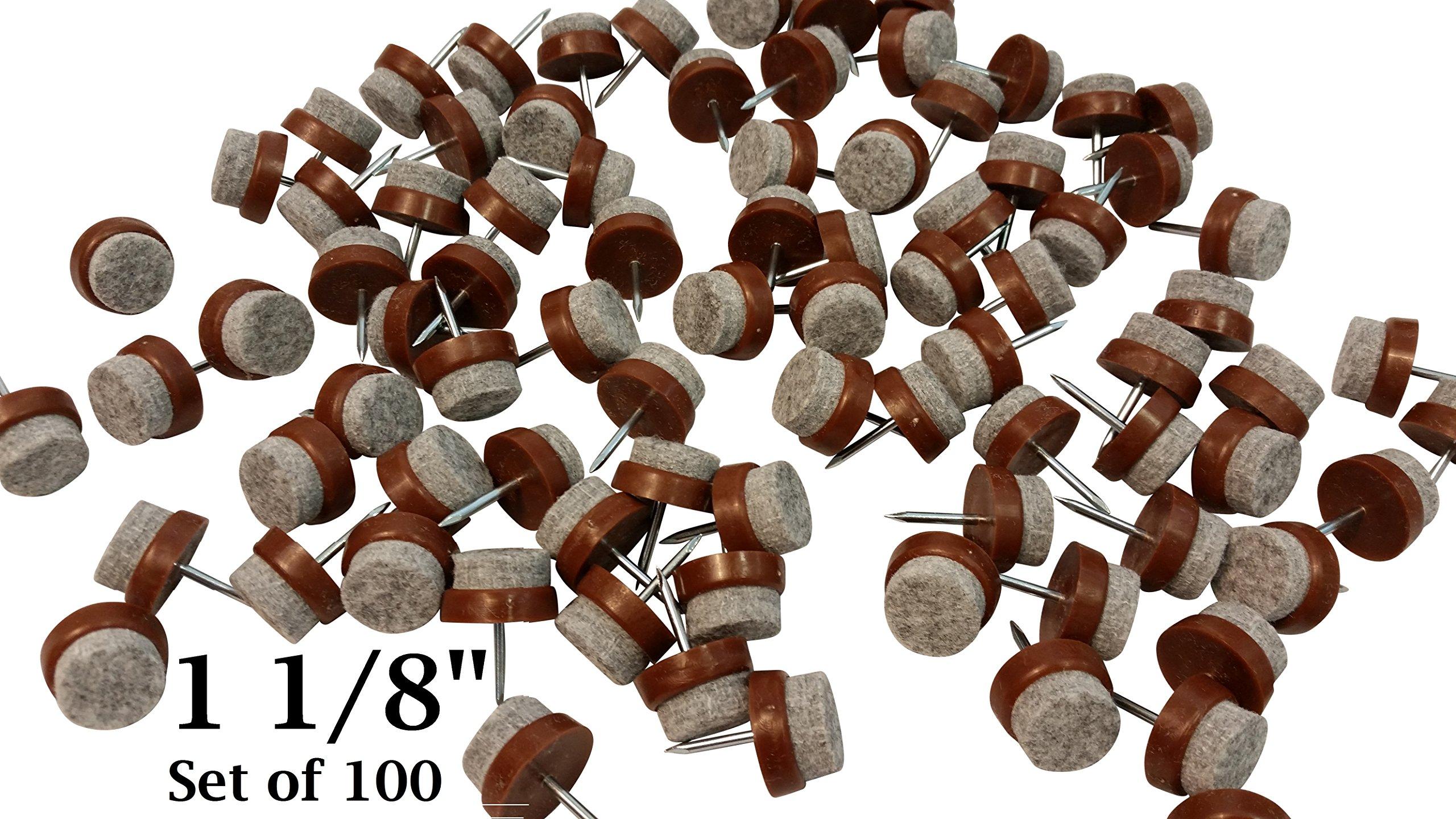 Felt Bottom Nail-On Chair Glides Protect Tile & Hardwood Floors 1 1/8'' - Set of 100