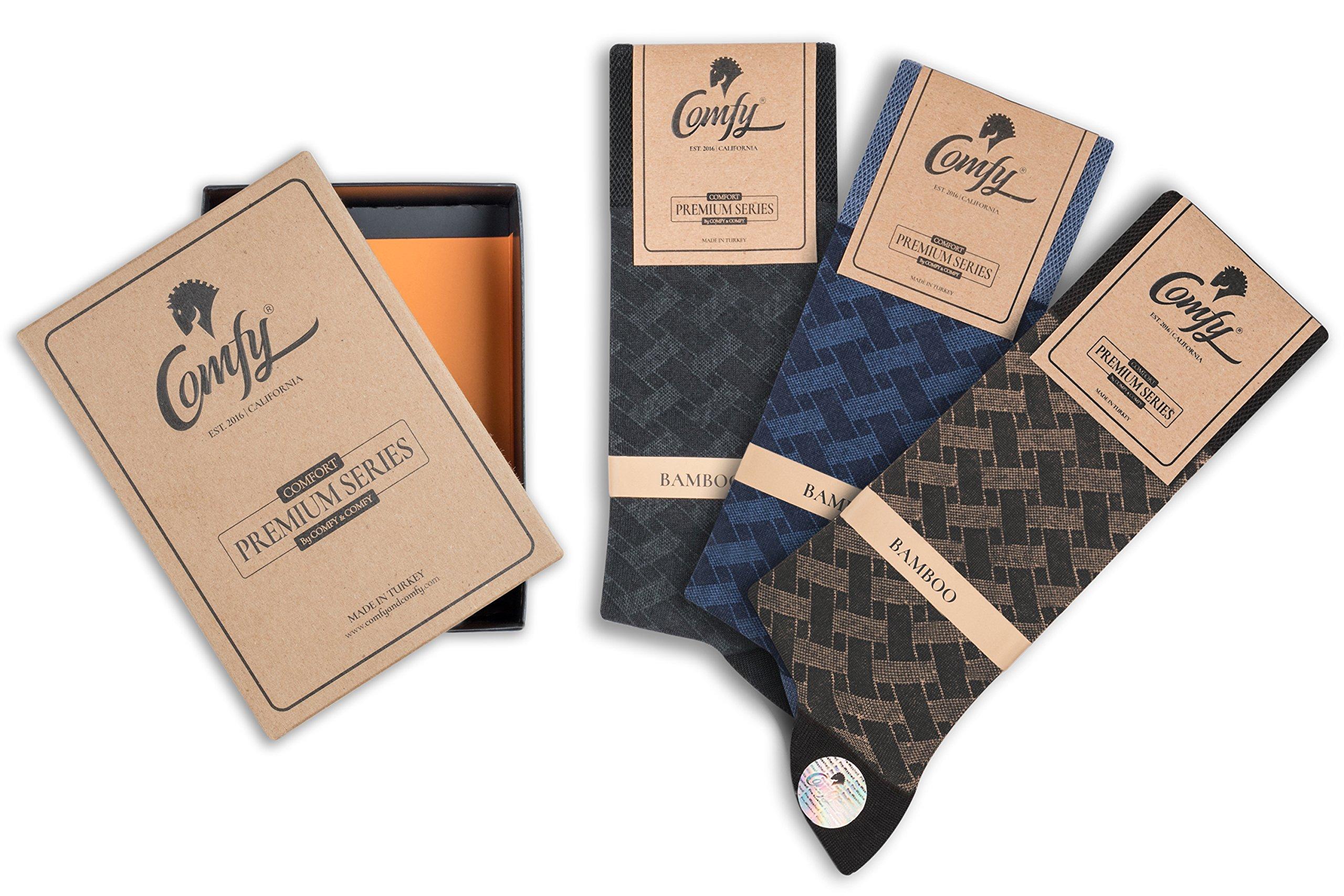 Bamboo Men's Casual Dress & Trouser Socks - 2 pack and 6 Pack -Socks in Gift Box