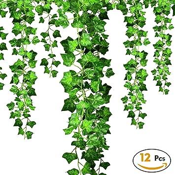 efantur hiedra artificial enredadera 12 pcs 215m falsa planta verde vid guirnalda - Plantas Colgantes Exterior