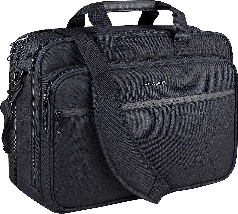 "KROSER 18"" Laptop Bag Premium Laptop Briefcase Fits Up to 17.3 Inch Laptop Expandable Water-Repellent Shoulder Messenger Bag Computer Bag with RFID Pockets for Travel/Business/School/Men/Women-Black"