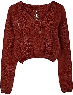 dad9b67a0c12d Joeoy Women s Fluffy Mohair Long Sleeve Knit Crop Top Sweater Jumper ...