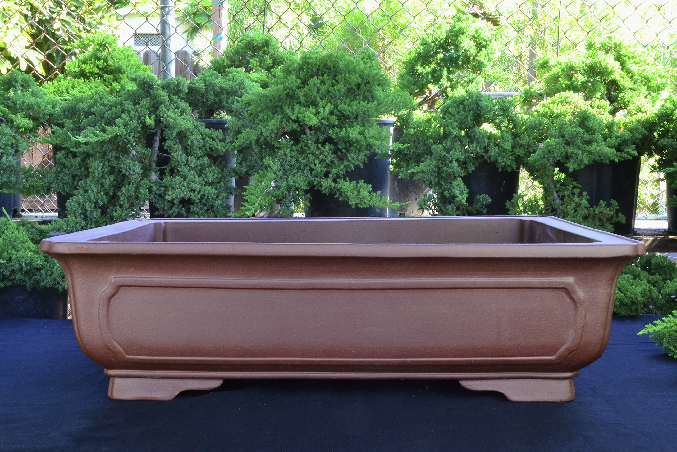 Large Unglazed 23'' Rectangular Yixing Purple Clay Ceramic Bonsai Pot(PA43-23)