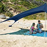 SUN NINJA Pop Up Beach Tent Sun Shelter with Sand Shovel, Ground Pegs,and Stability Poles, Outdoor Shade for Camping Trips, Fishing, Backyard Fun or Picnics (10X10 FT 2 Pole, Navy)