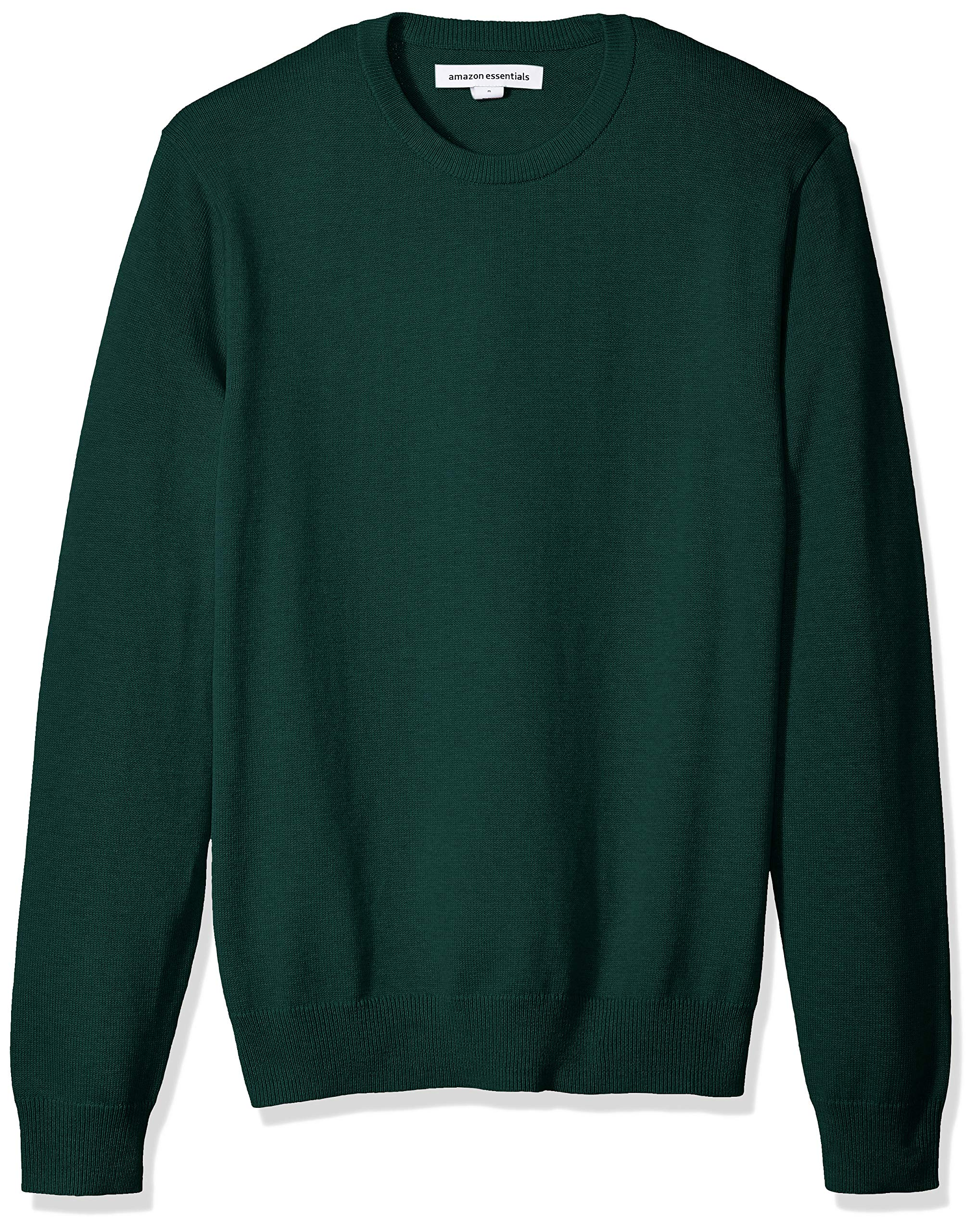 Amazon Essentials Men's Standard Crewneck Sweater, Dark Green, X-Small