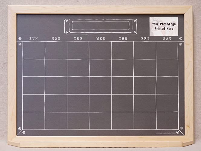 black industrial chalkboard monthly dry erase wall calendar framed command center