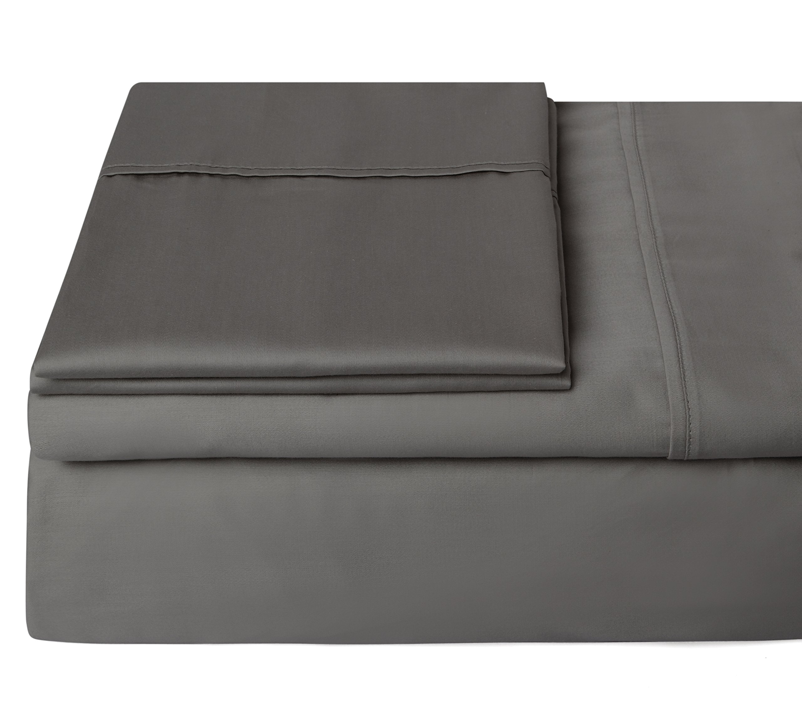 #1 Bedding 400 Thread Count 100% Egyptian Cotton Sheets,Long Staple Cotton,Sateen,Hotel Collection,Luxury,Bestseller Black Friday Deals,Soft Sheets & Pillowcases -King (Dark Gray) -Steffani