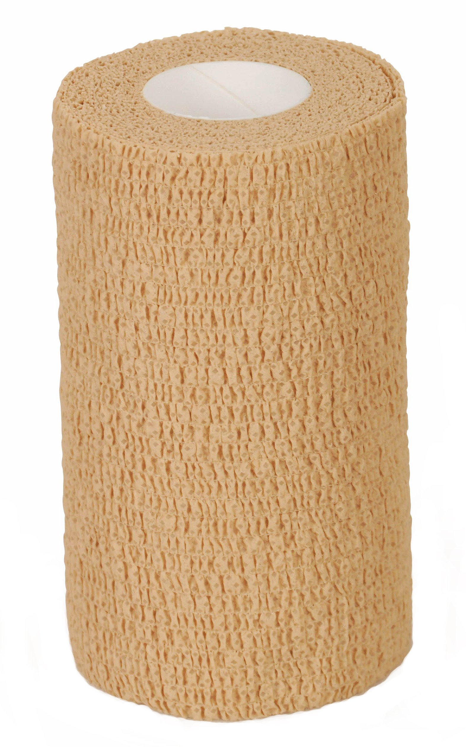 Medline Caring Self-Adherent Cohesive Wrap Bandage with Latex, Non-Sterile, 6'' x 5 yd, Tan (Case of 12)
