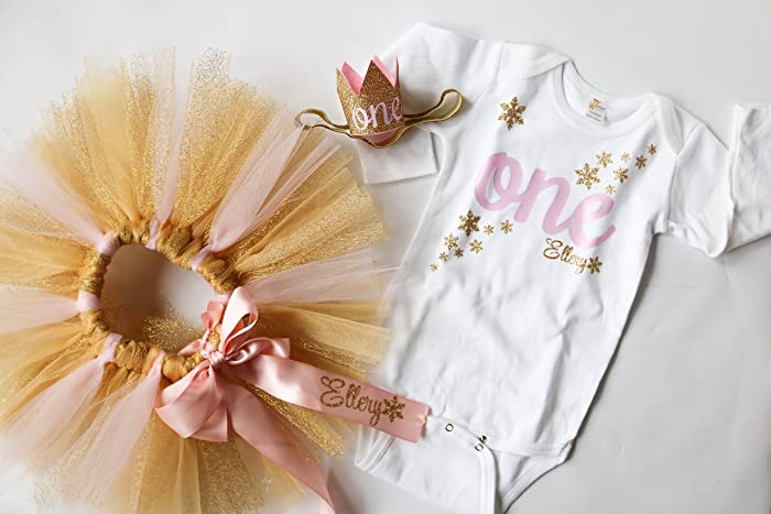 d41253e186 First Birthday Winter Onderland Personalized Baby Girl Outfit in Glitter  Gold and Light Pink