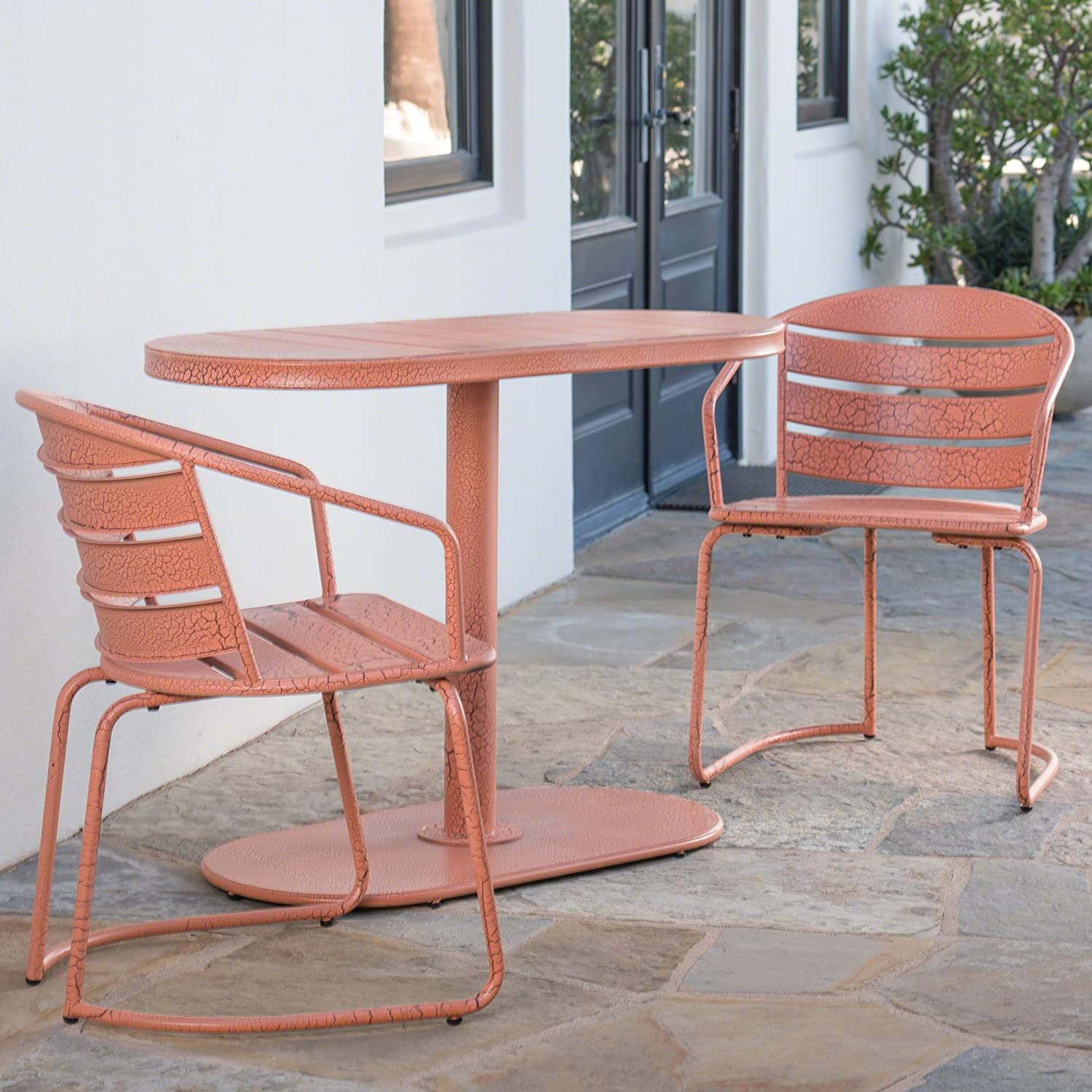 Porto Outdoor 3 Piece Crackle Orange Finished Iron Bistro Set