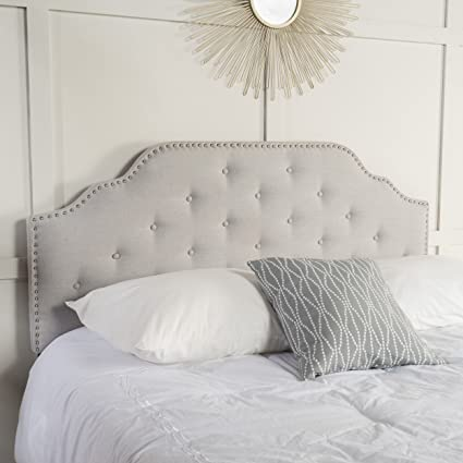 grey chenille headboard large beds light buttoned velmont