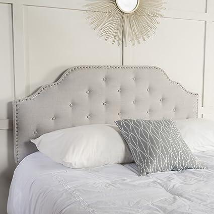 tufted grey headboard light home size improvement king