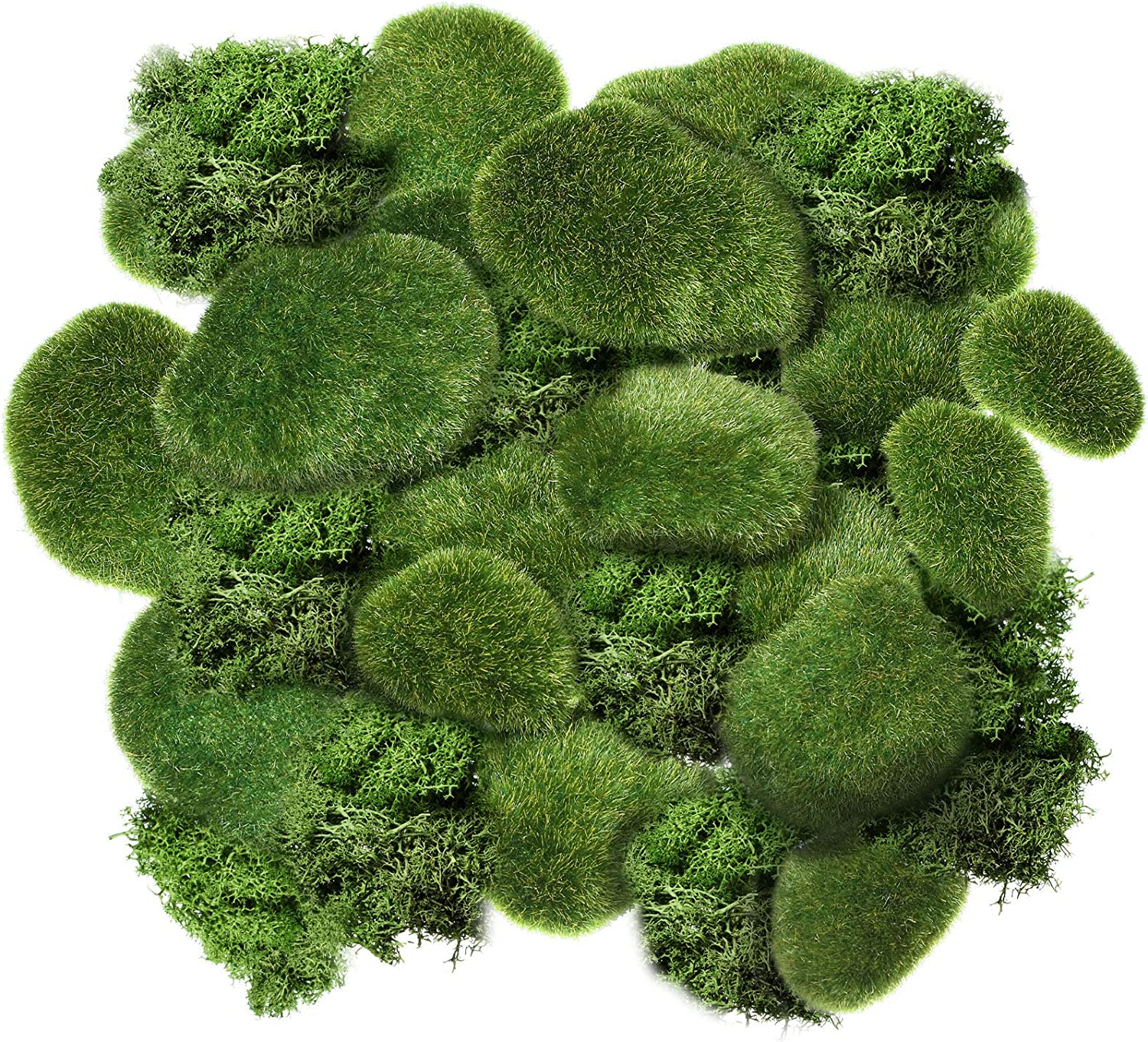Chuangdi 20 Pieces Artificial Moss Rock Assorted Sized Decorative Faux Green Stones Green Moss Balls with 20 Gram Preserved Green Moss for Floral Arrangements and Crafting Fairy Gardens