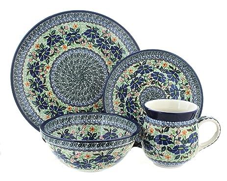 Polish Pottery Lidia 4 Piece Dinner Set  sc 1 st  Amazon.com & Amazon.com: Polish Pottery Lidia 4 Piece Dinner Set: Dinnerware ...