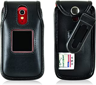 product image for Turtleback Fitted Case for Greatcall Jitterbug Flip Phone Black Leather Rotating Removable Belt Clip Made in USA