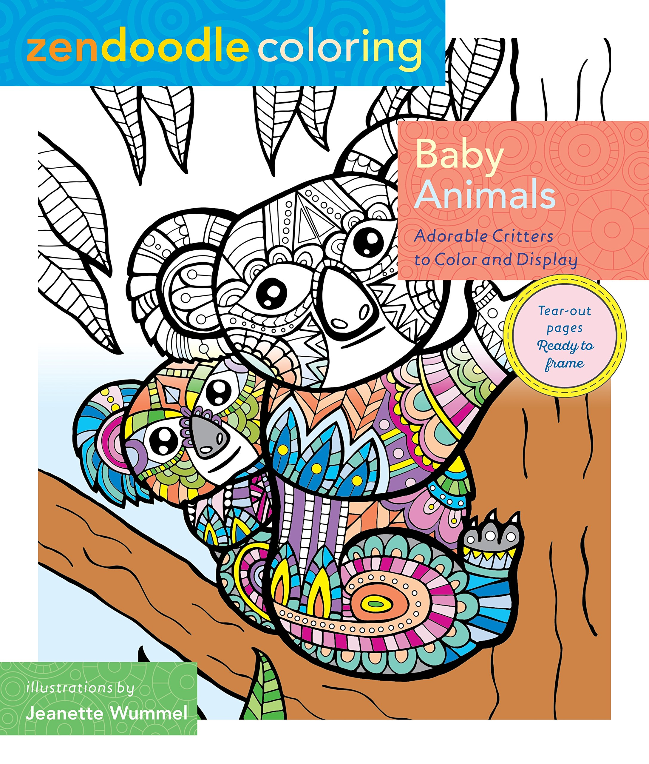amazon com zendoodle coloring baby animals adorable critters to