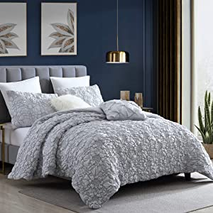 Swift Home Hana Premium Ultra Soft Washed Microfiber Stitched Rosette Floral 2-Piece Comforter Set with Matching Sham, Oeko-Tex Certified, All Season - Grey, Twin/Twin XL (68