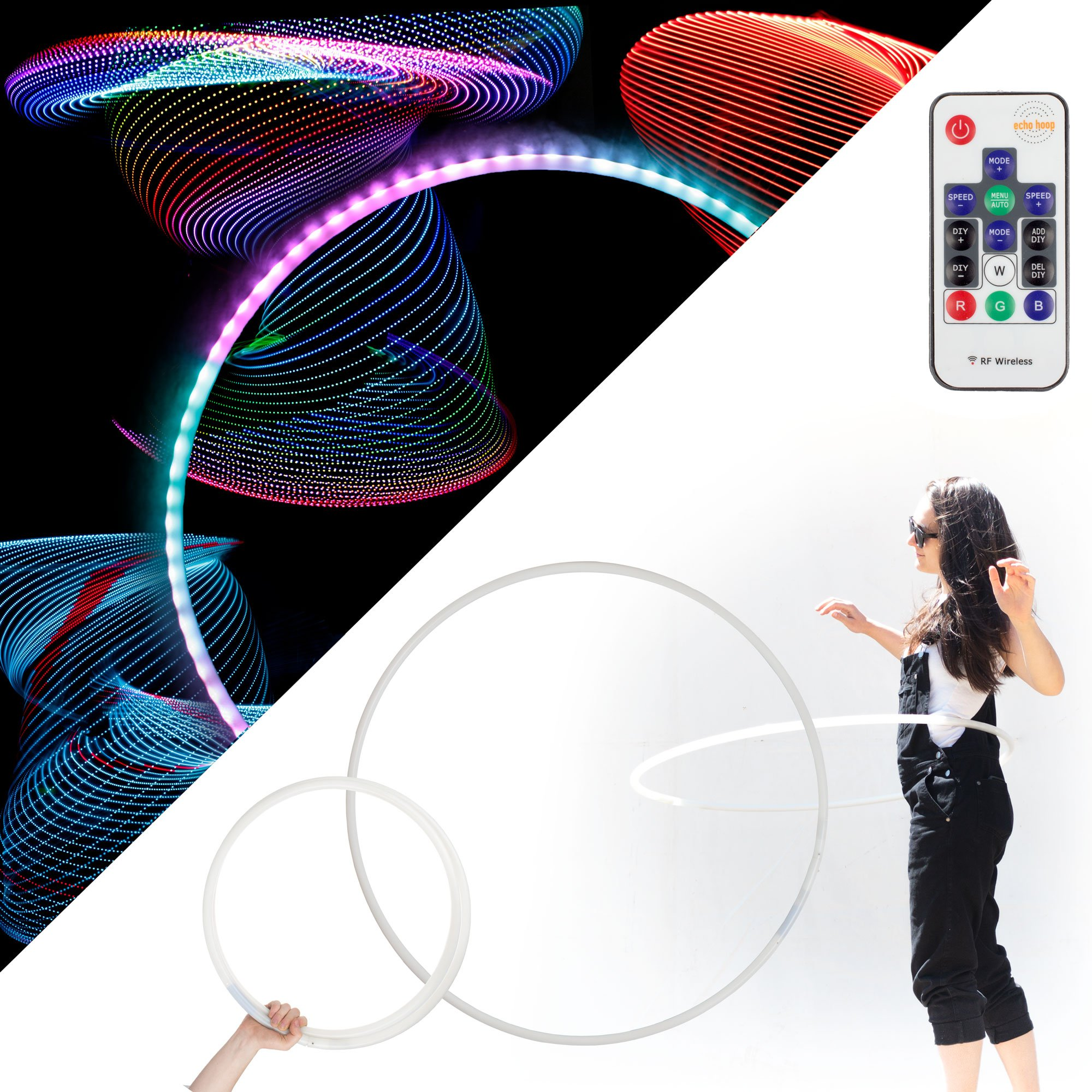 Echo Glow - Light Up Collapsible Professional Hula Hoop with 84 LED's, Fully Rechargeable + Remote Control! 300+ Light Patterns!