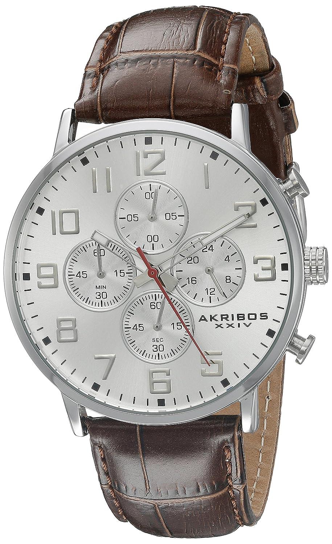 Akribos XXIV Men 's ak854ssbrラウンドシルバーダイヤルクロノグラフクォーツストラップ腕時計 B013GEJUPW