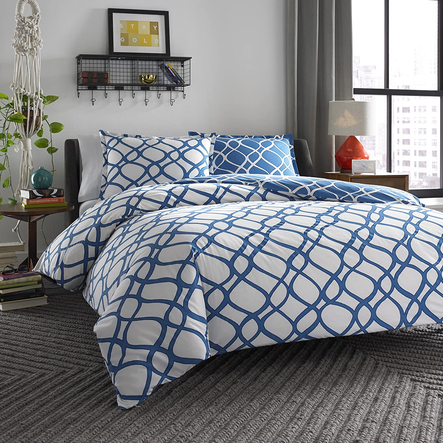 city scene bedding sets  ease bedding with style - city scene arlo reversible comforter set blue king