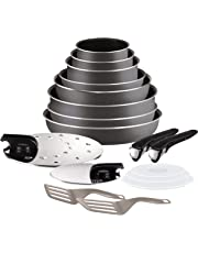 Tefal L2049002  Ingenio 5 Essential Lot de 17 Pièces Gris Anthracite Tous feux sauf induction  : 3 Casseroles + 3 Poêles + 1 Wok + 1 Sauteuse + 2 Poignées + 7 Accessoires