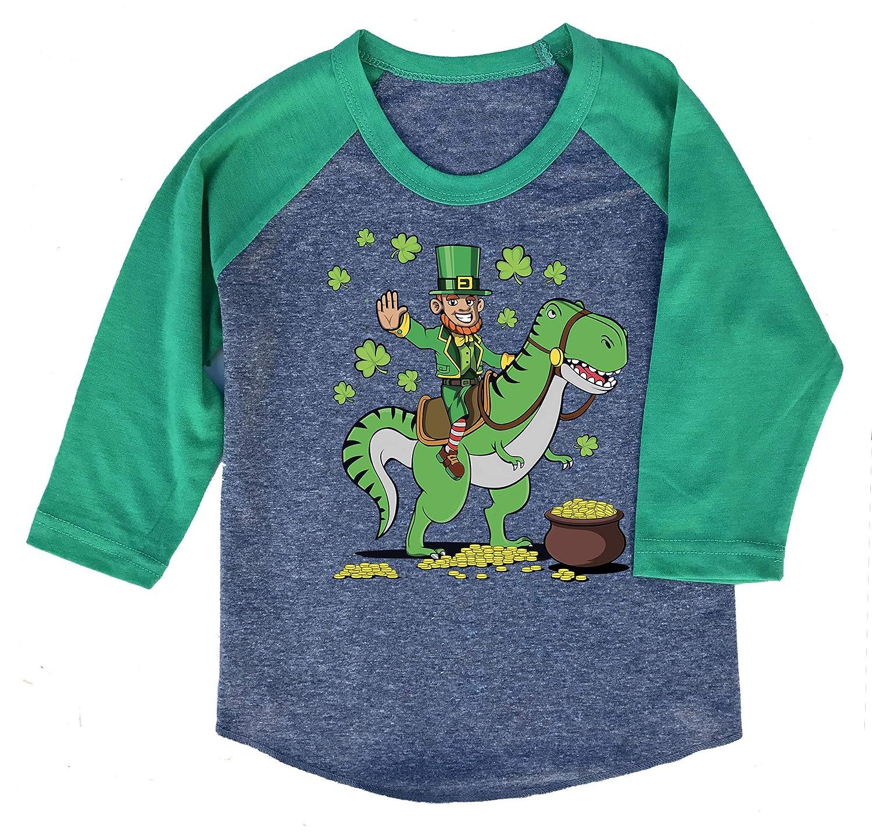 St Patricks Day Dinosaur Leprechaun Kids /& Youth T-Shirt or 3//4 Sleeve Raglan Baseball Tee for Boys or Girls