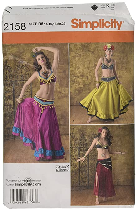 Simplicity Andrea Schewe Pattern 2158 Misses Belly Dancer Costumes Sizes  14-16-18-20-22