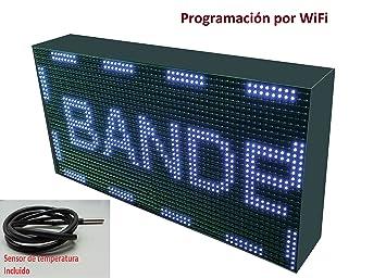 Cartel LED programable por WiFi y sonda de temperatura (64x32 cm, Blanco) /
