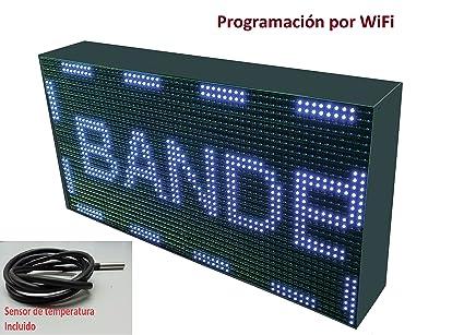 Cartel LED programable por WiFi y sonda de Temperatura (64x32 cm, Blanco) Reloj / Pantalla electrónica de Alta luminosidad / Válidos para Exterior / ...