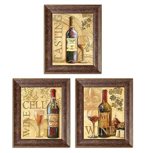 3 Wine Grape Art Prints Tuscany Cellar Tasting Kitchen Decor Three 8x10 In Gold Trim Brown Framed Prints Ready To Hang