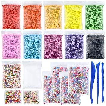 Conjuntos de perlas de espuma de poliestireno para DIY Slime, 12 colores Mini perlas de
