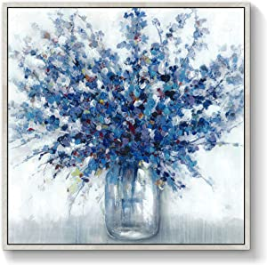 TAR TAR STUDIO Abstract Flowers Wall Art Framed: Blue Bouquet in Vase Picture Artwork Print Painting on Canvas for Bedroom Office (28''Wx 28''H,MultipleSizes)