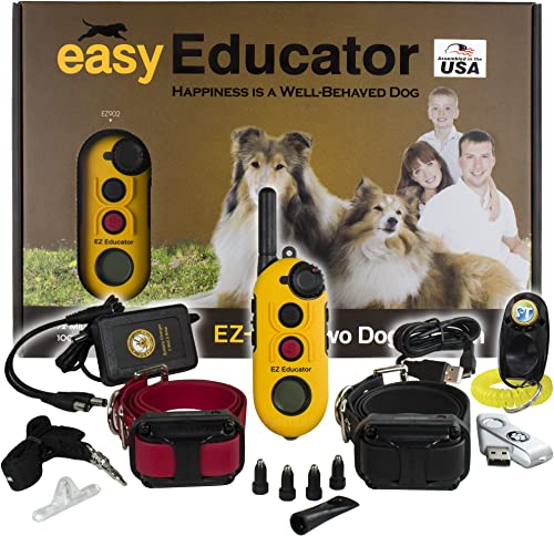 Bundle of 2 Items – E-Collar – EZ-902-1 2 Mile Remote Wireless Rechargeable Waterproof Two Dog Trainer – Static, Vibration and Sound Stimulation Collar with PetsTEK Dog Training Clicker