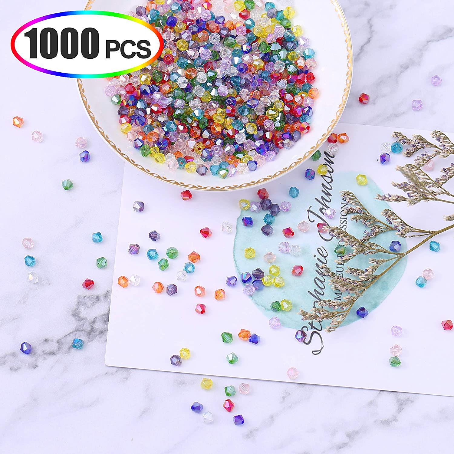1000pcs 4mm Bicone Crystal Glass Loose Spacer Beads Jewelry Making Wholesale