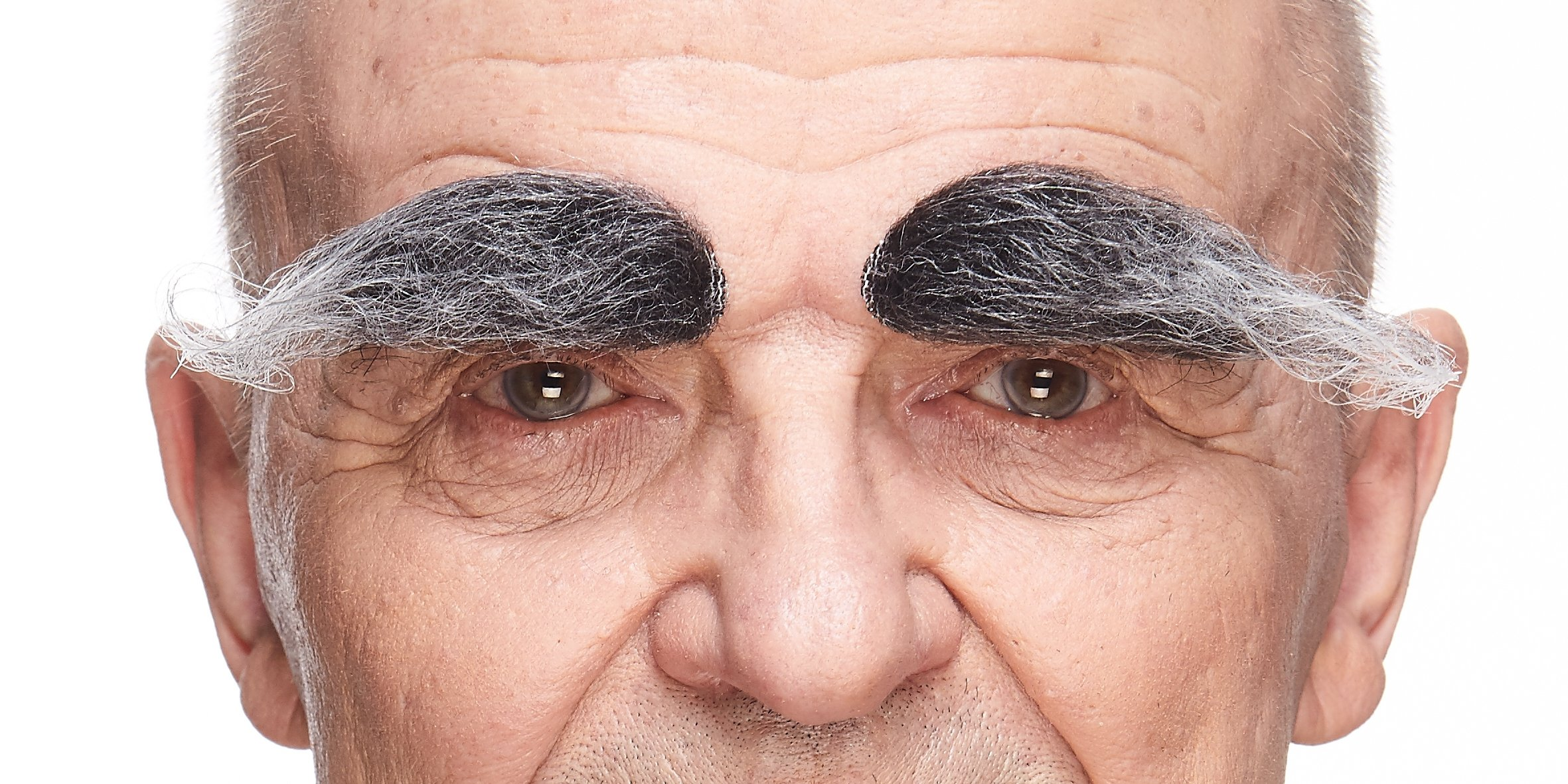 Mustaches Self Adhesive, Novelty, Realistic, Fake Eyebrows, Salt and Pepper Color