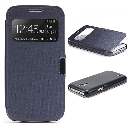 Urcover® View Case Handy Schutz-Hülle   Kompatibel mit Samsung Galaxy S4 Mini   Hart Kunststoff Dunkel Blau   Elegant Wallet