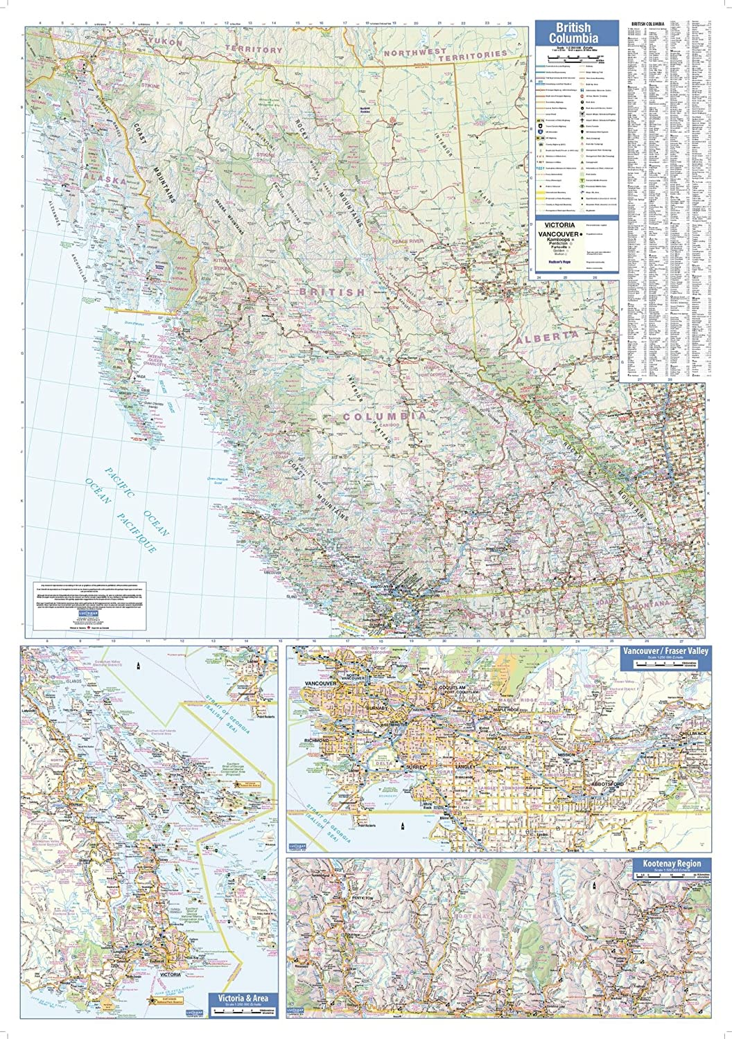 British Columbia Wall Map - 28.75 x 40.75 Laminated MapSherpa