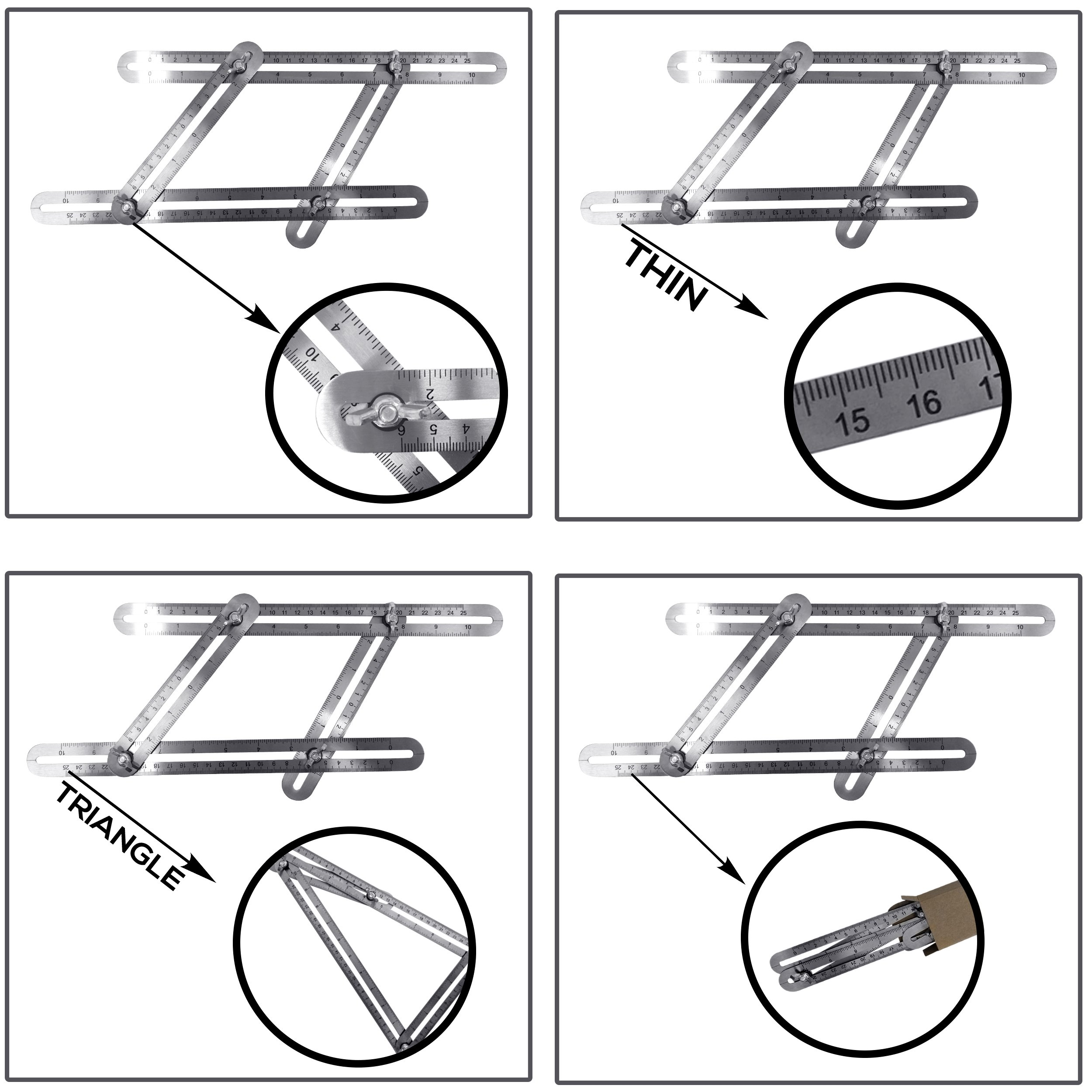 Upgraded Stainless Steel Multi-Angle Measuring Ruler Angle-izer Template Tool Construction Precision Steel Foldable For Carpenters Builders DIY 7Projects Measure Make Bulls Eyes Arches By ALLANGLES by ALLANGLES (Image #7)