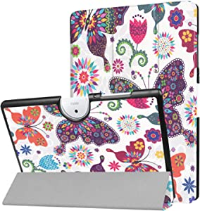 """Acer Iconia One 10 B3-A40 Slim Shell Case - Ratesell Tri-Fold Smart-Shell Stand Case Cover with Auto Sleep/Wake for 10.1"""" Acer Iconia One 10 B3-A40 Android 6.0 Tablet Fly Butterfly"""