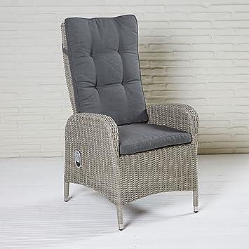 Wholesaler GmbH Bilbao Positionsstuhl Gartenstuhl Grau Polyrattan Mit  Auflage Hochlehner Sessel